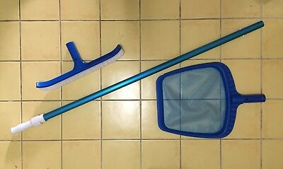 Swimming Pool Telescopic Pole, Brush And Leaf Scoop/Net, never Used