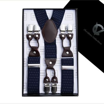 Midnight Blue Pin Dot Y3.5cm Extra Large Braces
