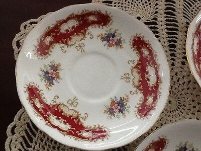 QUEEN ANNE Tea bone china replacement saucer, burgundy medallions England