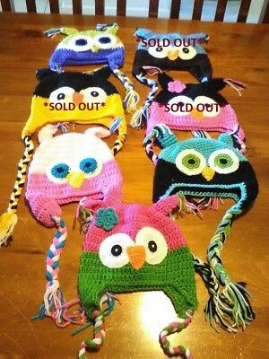 Crocheted Owl Beanies / Hats ..... BRAND NEW WITHOUT TAGS