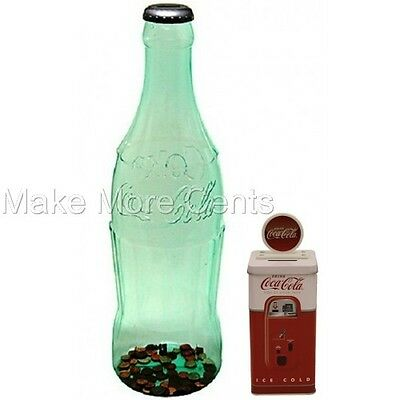 "Coke Coca-Cola Coin Piggy Banks Combo -Giant 23"" Bottle & Coke Dispenser Bank -"