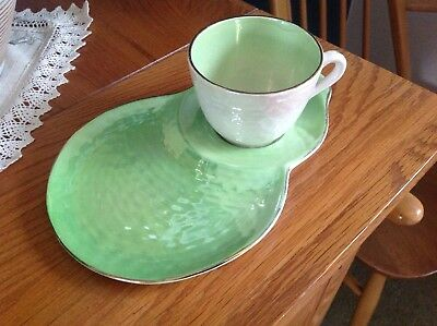 Vintage MALING Green Tennis Set Lustre Ware Cup & Saucer
