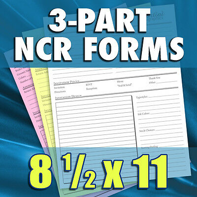 500 Sets of 8.5 x 11 3-Part Carbonless NCR Forms - Custom Printed