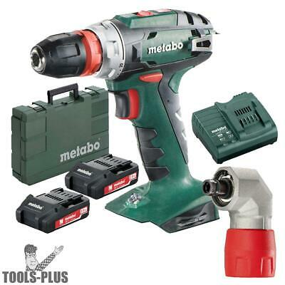 "Metabo US602217620 18V 3/8"" Drill/Driver 2x Batts,Charger,Rt Angle Adptr New"