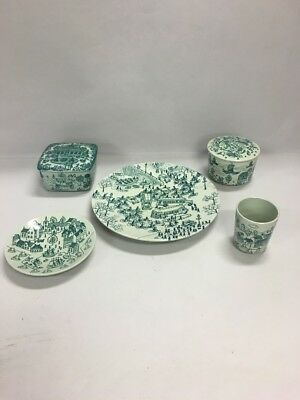 VINTAGE Denmark NYMOLLE Art Faience HOYRUP Green Pottery 5 PIECES Danish MCM