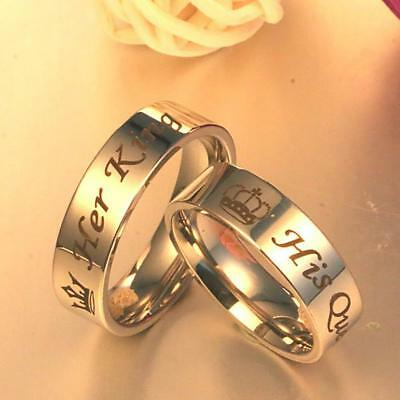 Stainless Steel Lover Rings Her King and His Queen Rings Wedding Jewelry UK &R