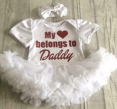 LOVE DADDY TUTU ROMPER, Red Glitter My Heart belongs to Daddy White Dress, Gift