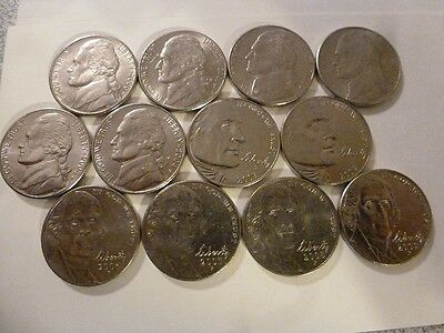 2000 to 2009 P AU Nickels Jefferson Run Lot ALL 12 Coins
