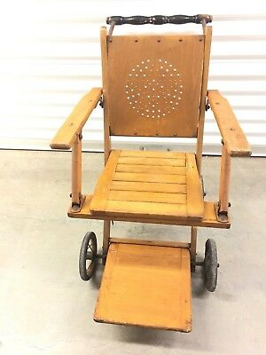 Gendron Wheelchair Antique Four Wheel Solid Wood Folding Made In USA