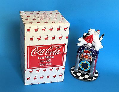 Coca Cola Disco Nights Juke Box Polar Bear Boy Girl Figurine 2001 In Box