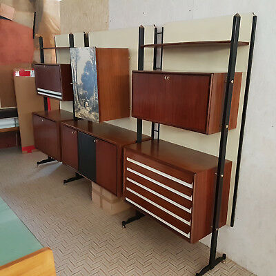 Magnificent Big Wall Bookcase 1960 Permanente Mobili Cantu' Branded