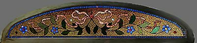 Antique American Arched Floral Mosaic Transom by the Belcher Mosaic Glass Co.