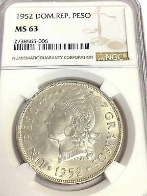 1952 Dominican Republic One Peso silver, NGC MS-63