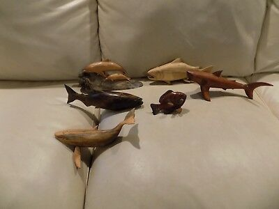 Vintage Lot of Folk Art Carved Fish Shark Dolphin Trout Salmon Whale etc