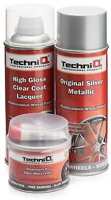 Alloy Wheel Paint SIlver Metallic 400ml + Clear Coat 400ml + Wheel Filler 250g