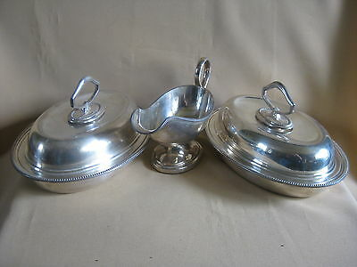Pair WMF Silver Plated Covered Dishes and Gravy Boat