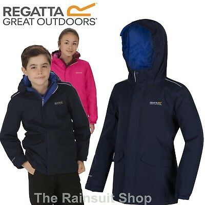 Regatta Hurdle Kids Jacket Insulated Hooded Waterproof Kids School Rain Coat