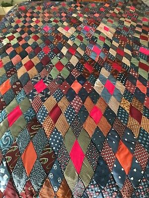 Vintage Authentic Quilt Hand Made- Hand Sewn -Made With Old Silk Ties