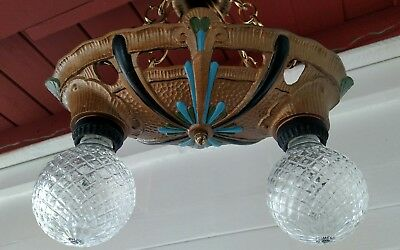 Antique Ceiling two light cast Iron Chandelier art Nouveau, Deco, Poly-chrome