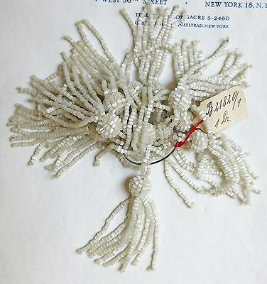 Pr Vintage/Antique Art Deco Victorian White Glass Beaded Tassel Fringe  2 1/4""