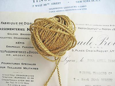 4 yds Vintage Antique French Gold Metallic Cord Trim 1/16""