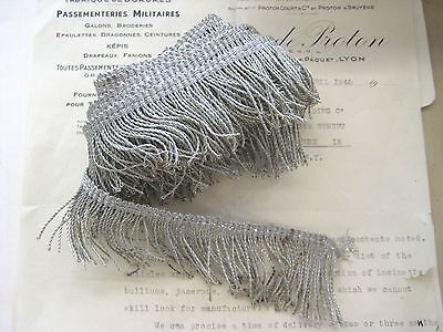"Antique Vintage UNUSED French 2"" Silver Metallic Thread Fringe 1 yd Military"