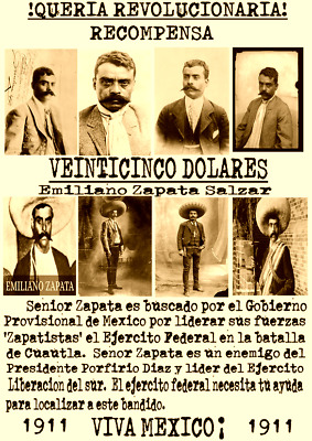 Posters Old West Wanted Bandit Mexico Zapata Villa Outlaw Revolution Western Law