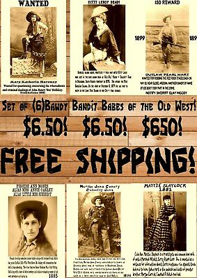 Set Of (6) Vintage Old West Wanted Cowgirl Cowboy Outlaw Ringo Posters Oakley