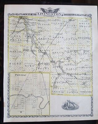 Antique Map - LIVINGSTON County Illinois - Warner & Beers/Union Atlas Co. 1876
