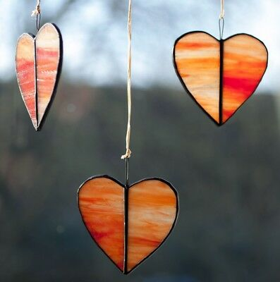 Three Red Stained Glass Hearts suncatcher mobile decoration St Valentines Gift