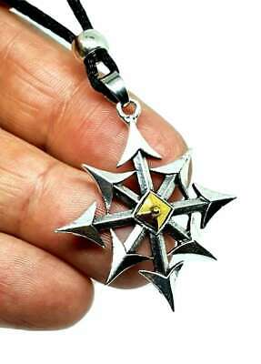 Chunky Chaostar Chaos Star 8 Pointed Large Gothic Occult Pendant Corded Necklace