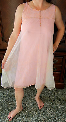Rare Find! Vintage Kayser Pink Double Layer Lace Paisley Chiffon Nightgown M Evc