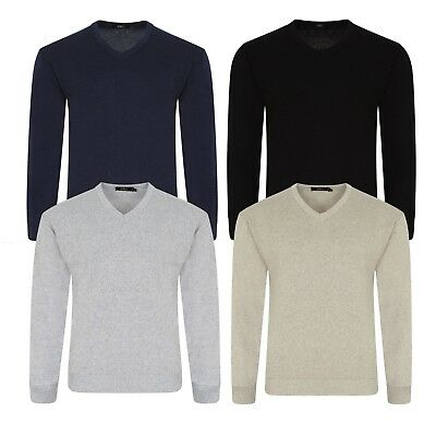 9d348309904016 Mens Plain Knitted V Neck Jumper Soft Cotton Knitwear Warm Pull Over Top  Sweater