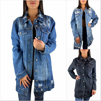 brand new 4151e 94eb4 DAMEN JEANSJACKE LANG Oversize Grau Blau Destroyed Jacke Denim Mantel  Blogger