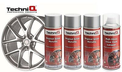TechniQ Metallic Silver and Lacquer Car Alloy Wheel Spray Paint - 4 Cans Total