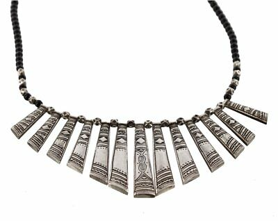 Silver Tuareg Necklace - Variagated Panels - Traditional Motifs
