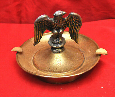 Vintage Mid Century Brass Metal Eagle with Wings Spread Ashtray - Screw On