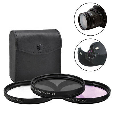 67mm 3 Piece Multi-Coated HD Digital Lens Glass Protector Filter Kit UV CPL FLD