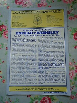 1980/81 Enfield v Barnsley FA Cup 4th Round Replay Programme at White Hart Lane