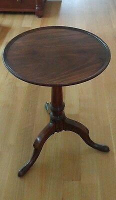 ANTIQUE 17th century mahogany candle stand cabriole legs dish top tilt table