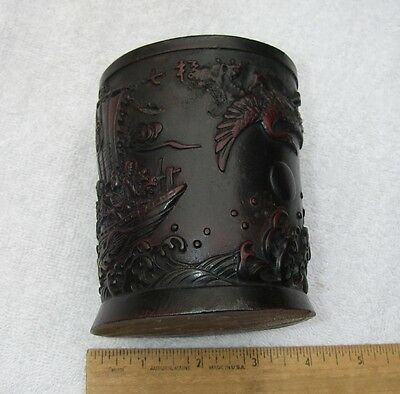 Old CHINESE Carved BAMBOO BRUSH POT-Eight Immortals / Cranes-NR