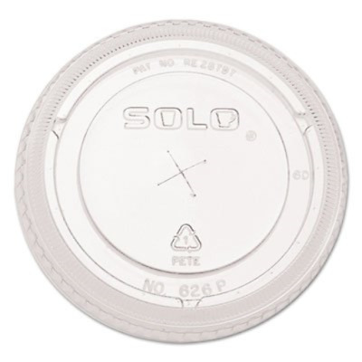 SOLO Cup Company - Ultra Clear Flat Cold Cup Lids f/16-24 oz Cups, PET, 100/Pack