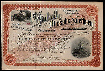 1898 Duluth Missabe and Northern Railway Minnesota RARE Issued Stock Certificate