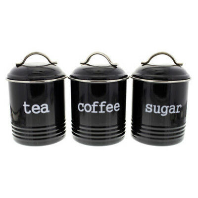 D.LINE Colonial Set of 3 Metal Tea/Coffee/Sugar Canisters Storage Tins 1L Black!