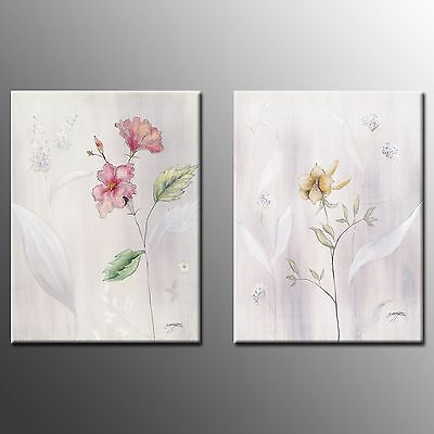 FRAMED Canvas Prints Flower Oil Paintings Modern Canvas Wall Art For Room-2pcs