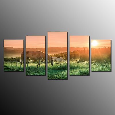 FRAMED Wall Art Print Canvas Picture Large Painting Horses on the Grassland 5pcs