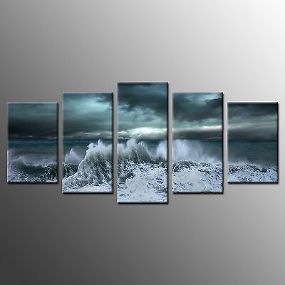 FRAMED Large Wall Art Canvas Painting Sea Waves Photo Canvas Art Prints-5pcs