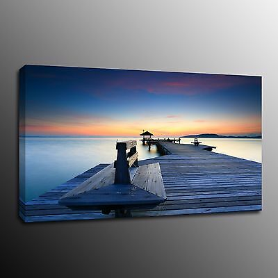 Seaside Sunset Canvas Prints Painting Home Decor Wall Wooden Bridge Poster