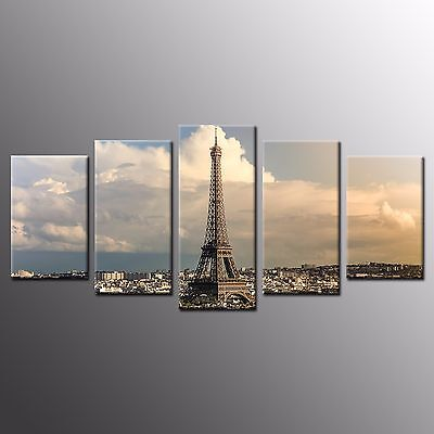 FRAMED Large Modern Wall Art 5 Piece Eiffel Tower Picture Canvas Print For Home