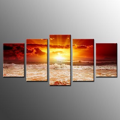 FRAMED Large Canvas Wall Art Sunset Seaview Waves Canvas Painting Print-5pcs